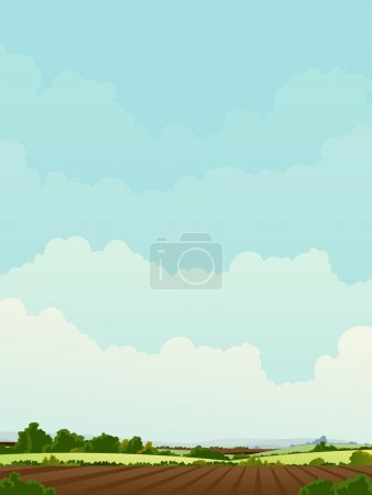 Illustration for Illustration of a rural landscape with agriculture fields - Royalty Free Image