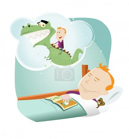 Illustration for Illustration of a cartoon young boy dreaming of friendschip with a dinosaur - Royalty Free Image