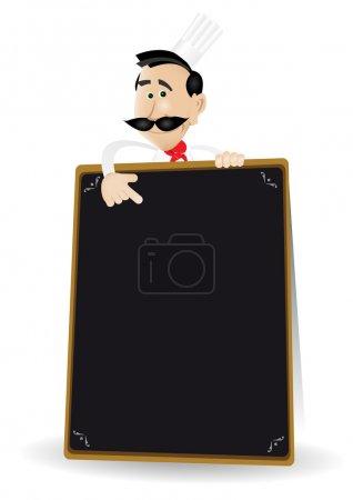 Illustration pour Illustration d'un cuisinier blanc dessin animé tenant un tableau noir montrant la spéciale ou le menu d'aujourd'hui. Mettez votre meilleur menu à l'intérieur  ! - image libre de droit