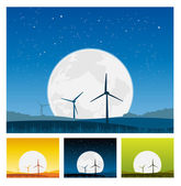 Illustration of outdoors landscape windmills with beautiful big moon behind