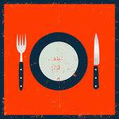Grunge Kitchenware - Fork Knife And Plate