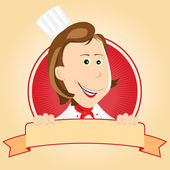 Illustration of a cartoon chef cook woman banner