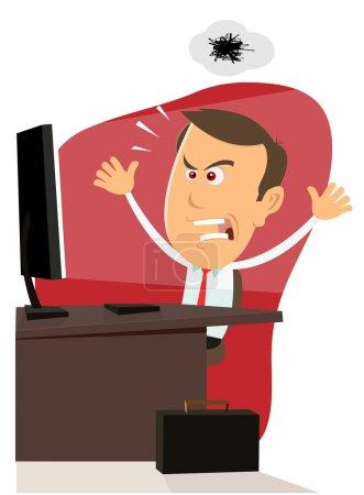 Foto de Ilustración de un empresario enojado de dibujos animados encontrar fallos en su máquina de la computadora - Imagen libre de derechos