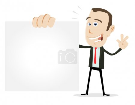 Illustration for Illustration of a cartoon businessman showing his visit card - Royalty Free Image