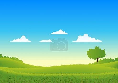 Illustration for Illustration of a cartoon spring or summer seasons landscape - Royalty Free Image