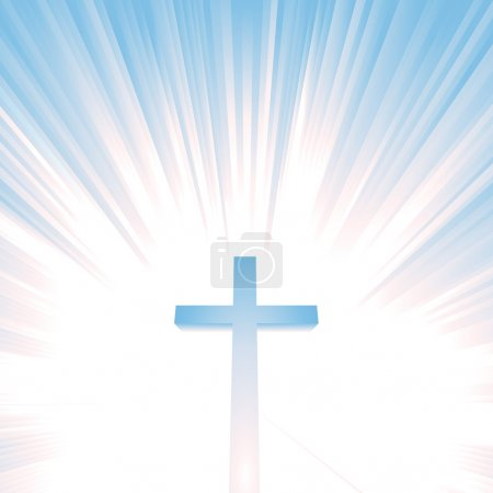 Illustration pour Illustration d'une croix chrétienne avec une étoile éclatée derrière, symbolisant le ciel, l'éternité - image libre de droit