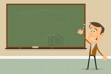 Illustration pour Illustration d'un professeur de dessin animé dans une salle de classe montrant le tableau noir à ses élèves - image libre de droit