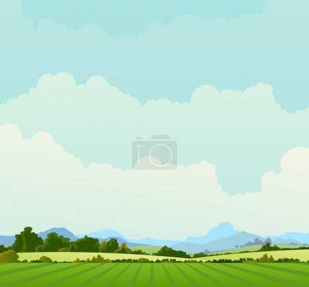 Illustration for Illustration of a country poster background in spring or summer season, and also beginning of autumn - Royalty Free Image