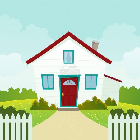 Illustration for Illustration of a cartoon house in spring or summer season - Royalty Free Image
