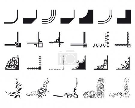 Illustration for Set of mixed border corners design in black - Royalty Free Image