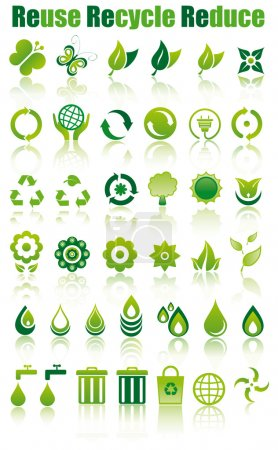 Set of green ecology icons to save the environment...