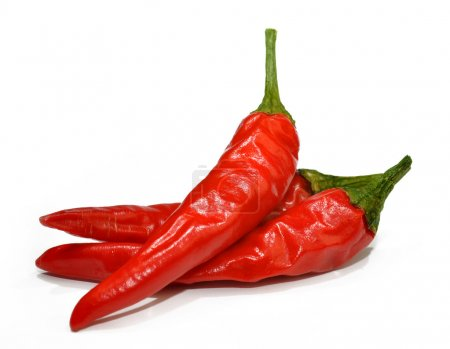 Photo for Red hot chilli peppers isolated on white background - Royalty Free Image