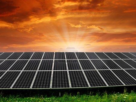 Foto de Paneles de energía solar en la puesta de sol - Imagen libre de derechos