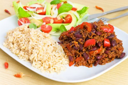 Photo for Chili con carne with rice - Royalty Free Image