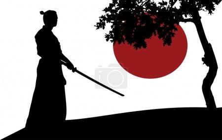 Illustration pour Silhouette de samouraï devant l'arbre - image libre de droit