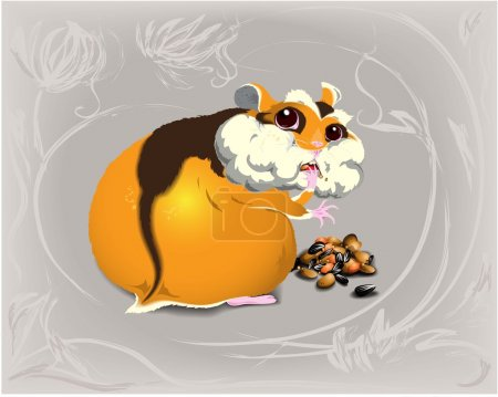 Funny greedy hamster